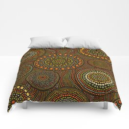 Dot Art Circles Aboriginal Art #1 Comforters