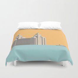 Liverpool Liver Building with Ferry on the Mersey Duvet Cover
