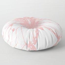 Vintage Pink Butterflly Illustration on Black Background Floor Pillow