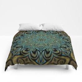 Teal and Gold Mandala Swirl Comforters