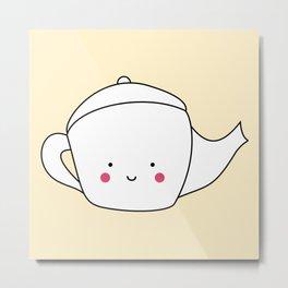 Kawaii Teapot Metal Print