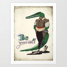 Walking Crocodile Art Print