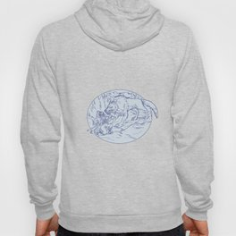 Fenrir Attacking Norse God Odin Drawing Color Hoody
