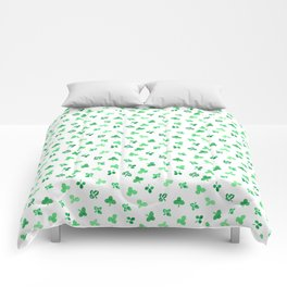 Clover Leaves on White Pattern Comforters