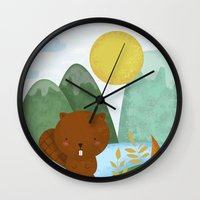 beaver Wall Clocks featuring little beaver by Proyecto Melón