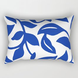 PALM LEAF VINE SWIRL BLUE AND WHITE PATTERN Rectangular Pillow