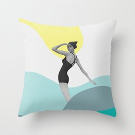 Swimmer Collage Throw Pillow