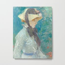Young Woman with a Straw Hat Metal Print