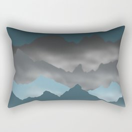 Blue Mountains and Mist Digital Illustration - Graphic Design Rectangular Pillow