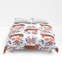 Tigers orange and purple clemson football varsity university college sports fan gifts Comforters