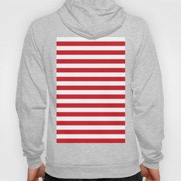 Narrow Horizontal Stripes - White and Fire Engine Red Hoody