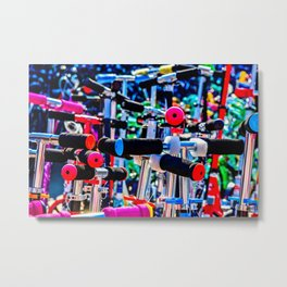 Colorful scooter handles Metal Print