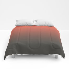 Pantone Living Coral & Beluga Gray Gradient Ombre Blend, Soft Horizontal Line Comforters