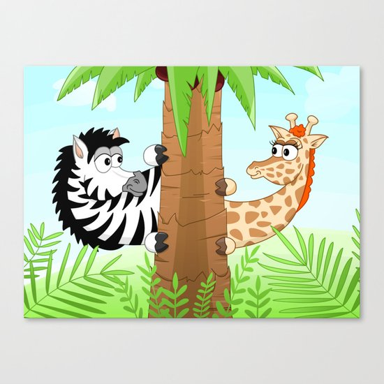 Hidning zebra and giraffe Canvas Print