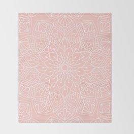 White Mandala Pattern on Rose Pink Throw Blanket
