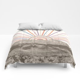 Summerlin Mountain // Abstract Vintage Mountains Summer Sun Vibe Drawing Happy Wall Hanging Comforters