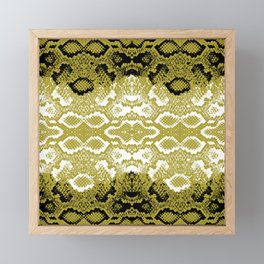 Snake skin scales texture. Seamless pattern black yellow gold white background. simple ornament Framed Mini Art Print