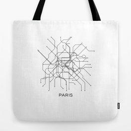 Paris Metro Map Subway Map Paris Metro Graphic Design Black And White Canvas Metropolian Art Tote Bag
