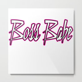 Boss Babe Pink Metal Print