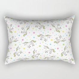 Unicorns and Stars - White and Rainbow scatter pattern Rectangular Pillow