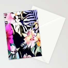 tropical flowers and leaves blue green pink purple white floral pattern Stationery Cards