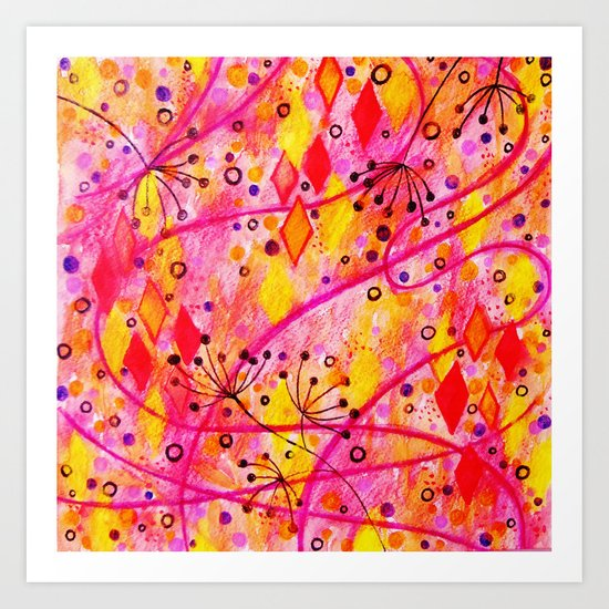 INTO THE FALL - Beautiful Nature Autumn Floral Raspberry Pink Cherry Abstract Watercolor Painting Art Print