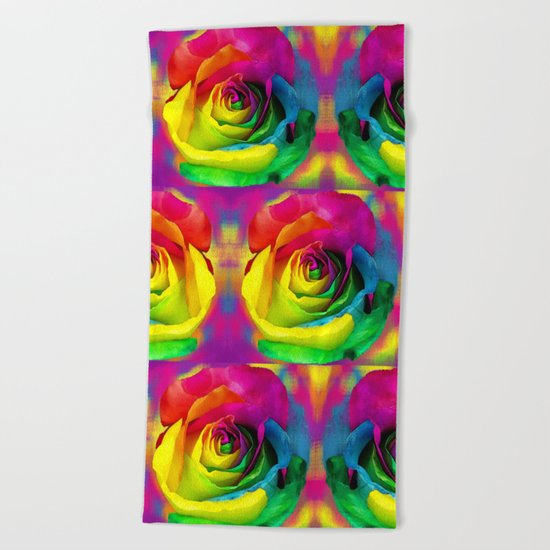Rainbow Rose Colourful Background Beach Towel