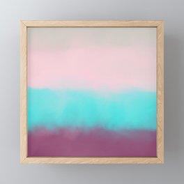 Artistic burgundy teal pink watercolor colorblock Framed Mini Art Print