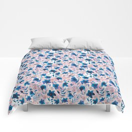 Flow pattern with hand painted watercolor flowers Comforters