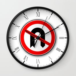 No U Turn Road Traffic Sign Wall Clock