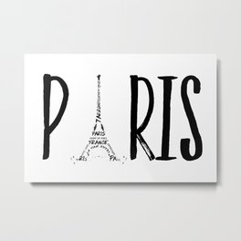 PARIS Typography Metal Print