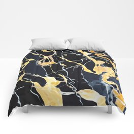 Black and gold marble Comforters
