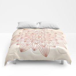 Mandala Blossom Rose Gold on Cream Comforters