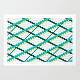 Deco Stripes Turqoise Art Print