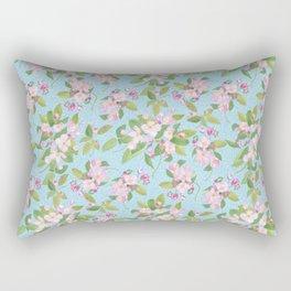Pink Apple Blossom on Sky Blue Leafy Background Rectangular Pillow