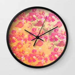 flowers, flowers, rose, silver, orange, gold, colored, vintage, elegant, textile, Wall Clock