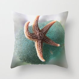 Starfish on Ocean Blue Sea Glass Throw Pillow