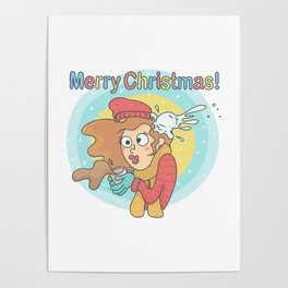 Merry Christmas Snowball Poster