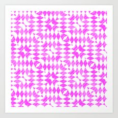 Pink And WHite abstract pattern Art Print