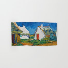 Three white cottages in Saintes-Maries by Vincent van Gogh Hand & Bath Towel