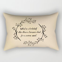 what is a bookshelf other than a treasure chest for a curious mind Rectangular Pillow