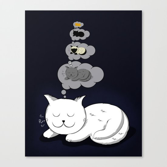 A cat dreaming of a cat that dreams of dreaming of a cat that dreams of dreaming of a cat. Canvas Print
