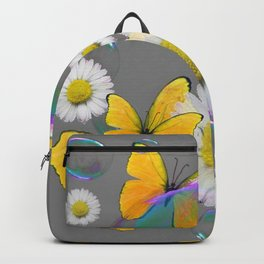 YELLOW BUTTERFLIES  DAISIES & SOAP BUBBLES GREY COLOR Backpack