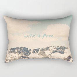 Wild and Free Faded Colorado Mountains Landscape, Clouds, blue skies, rockies Rectangular Pillow