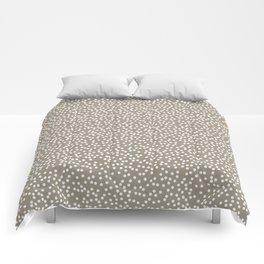 Dark Warm Gray and White Polka Dot Pattern Comforters