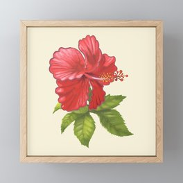 Pink Tropical Hibiscus Flower Painting Framed Mini Art Print
