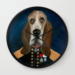 Admiral Tank Basset Hound Oil Painting Wall Clock