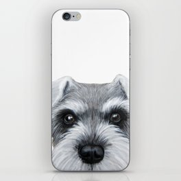 Schnauzer Grey&white, Dog illustration original painting print iPhone Skin