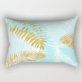 Aloha - Tropical Palm Leaves and Gold Metal Foil Leaf Garden Rectangular Pillow