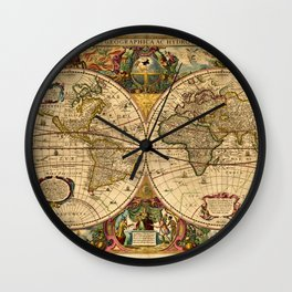 1663 Orbis Geographica Old World Map by Henri Hondius Wall Clock
